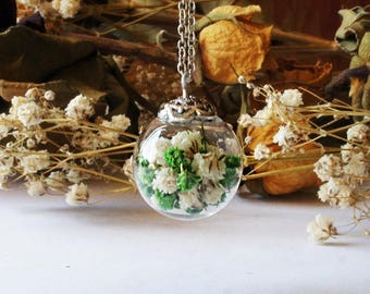Baby's Breath Terrarium Necklace, Real Flower Necklace, Botanical Jewelry, Glass Bottle Pendant, Dried flower necklace, Real Plant