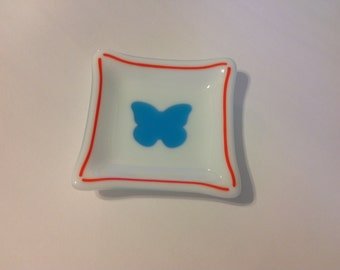 Fused Glass White Dish With A Blue Butterfly