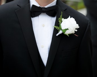 Boutonniere with a white rose, springeri fern, Perfect for a groom, groomsmen, Fathers, Grandfathers