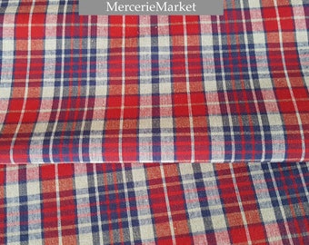 traditional kelsh + cotton plaid fabric + red + blue + Alsace Tartan.