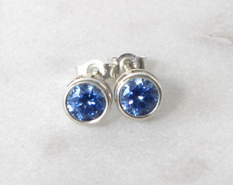 Swarovski Blue Zirconia Sterling Silver Stud Earrings  • Gifts for women • Bridesmaid Earrings • Prom Earrings