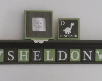 Dinosaur Nursery Decor | Custom Letters with Chocolate Brown Shelf, Sign Letters Painted Brown / Light Green | Personalized Baby Boy Gift