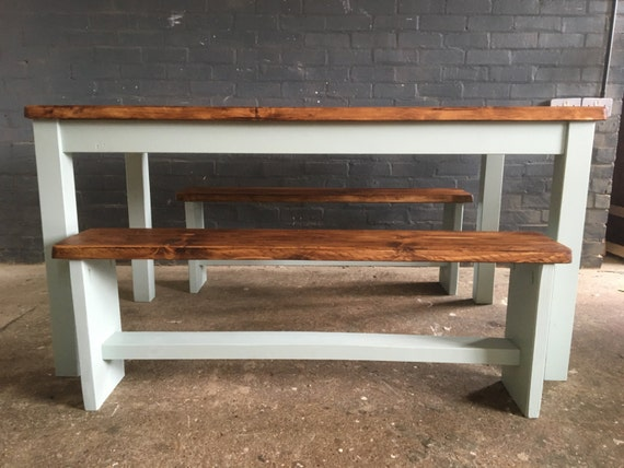 SLIM Farmhouse Dining Table With Benches - Slim dining table with bench