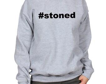 Hashtag Stoned Sweatshirt, 420 Day Shirt, Stoner Gift, Cannabis Weed Marijuana Shirt, Trippy Psychedelic Unisex Crewneck Slogan Sweater