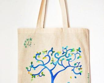 Canvas tote bag , shopping bag, tree  tote , eco bag