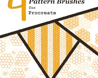 Procreate Bee Pattern Brushes- Set of Four