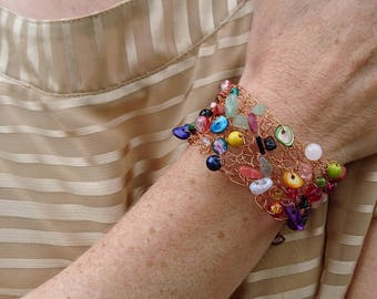 Copper crocheted in France multicolor wide bracelet / mother gift