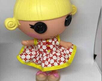 Handmade Dress for Lalaloopsy Little Doll // Little Sister // Doll Clothes // Stocking Stuffer // Under 10 // For Girls // Checks