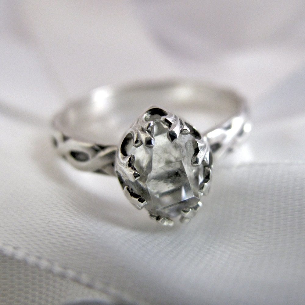 Herkimer diamond and sterling silver ring zoom junglespirit Images
