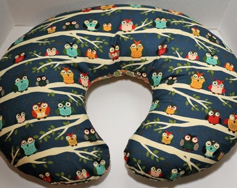 Reversible Boppy Nursing Pillow Cover: Night Owls in the Trees with Leaves OR Colorful Dots on Green