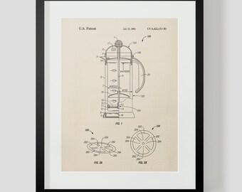 French Press Coffee Kitchen Patent Print 2