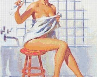 Retro Kitsch Pin-Up w. Flooded Bathroom Handmade Cross-Stitch Pattern