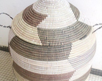 Storage Basket, Handwoven African Hamper, Church Roof Lid