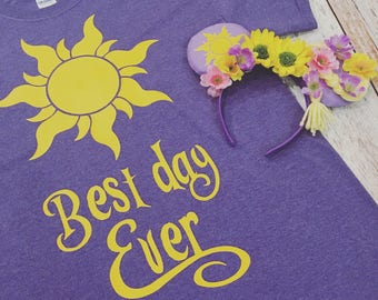 Tangled Rapunzel Inspired Best Day Ever Tee & Matching Minnie Mouse Ears Set