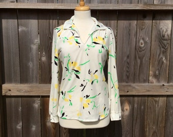 Vintage 70s Polyester Sears Blouse Long Sleeved Shirt Women's Yellow Black Floral