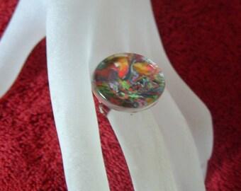 RING glass adjustable silver puck declination multi coloured Fimo glass unique