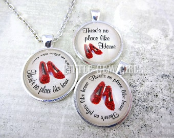 Wizard of Oz Necklace - There's No Place Like Home Charm with Glittered Ruby Red Slippers - 1 inch Glass Pendant - Going Away College Gift