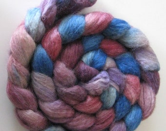Violets and mauve - Silk and BFL Wool Roving (Top) - Handpainted Spinning or Felting Fiber - 4 ounces