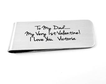 Valentine - Dad My First Valentine Custom MONEY CLIP   Father Dad Daddy - Valentine's Day - Father Daddy
