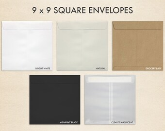 9 x 9 Square Invitation Envelopes w/Peel & Press - Pick A Color (50 Qty.)
