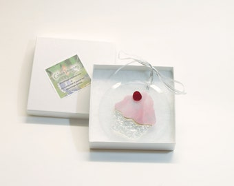 Cupcake with a Cherry on a Circular Bevel made with stained glass