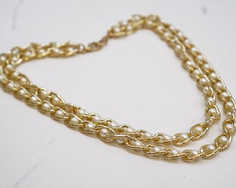 Pearl Chain Gold Necklace - Charm Necklace - Elegant Necklace - Double Chain Necklace