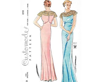 1930s 30s evening gown vintage sewing pattern reproduction // bias cut // lace molded cap sleeves // bust 32 34 36 38 40