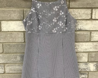 90s 2000s black and white flower gingham babydoll grunge dress