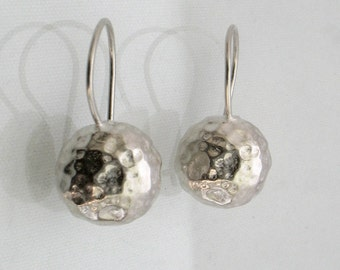 Silver Shine - silver hammered earrings