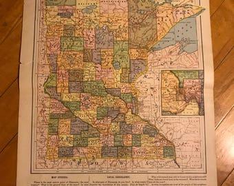 Map of Minnesota Vintage MN 1912