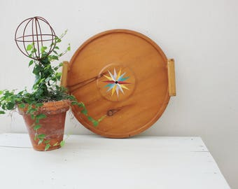Mid Century Wooden Tray with Painted Star