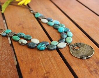 Statement turquoise necklace, Turquoise boho necklace,Turquoise long necklace,Turquoise gemstone necklace,Bohemian necklace