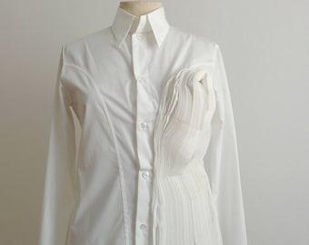 Yohji Yamamoto pleated sculptured origami white shirt