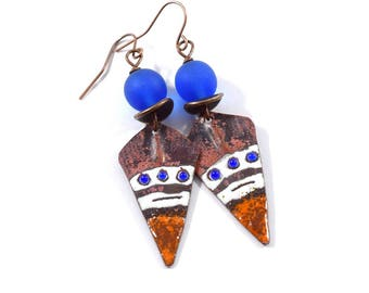 Handmade Blue and Copper Earrings, Enameled Earrings, Blue Earrings, Copper Earrings, Artisan Earrings, Boho Earrings, OOAK Earrings, AE133