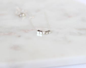 925 sterling silver cube necklace