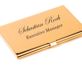 Personalized Business Card Holder, High Polished Rose Gold Business Card Holder Custom Engraved Free, Gold Credit Card Holder, Card Case