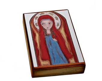 Mary Magdalene - ACEO Giclee print mounted on Wood (2.5 x 3.5 inches) Folk Art  by FLOR LARIOS