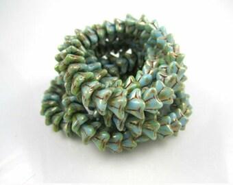 Maya Blue Silver Picasso Glass Beads Blue Czech Glass Beads Maya Flower Beads Blue Silver Bead Flowers 9x6mm (10 pcs) 306AV3