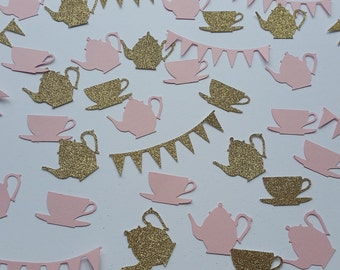 Tea party table confetti. Pink and glitter gold teapot teacup and bunting confetti. Tea party decoration or invite filler