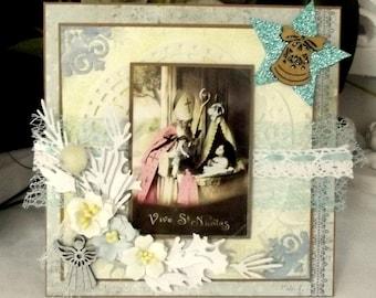 Greeting card, Saint Nicholas, shabby, 3D, handmade - CN118