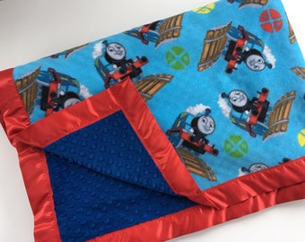 Personalized Thomas the Train Blanket Minky blanket child train blanket toddler blanket baby boy Thomas blanket train gift Thomas gift