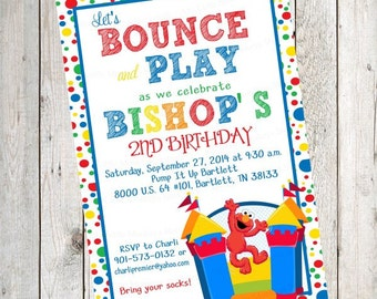 10 PRINTED Elmo Bounce House Birthday Invitations with Envelopes.  Free Return Address Labels