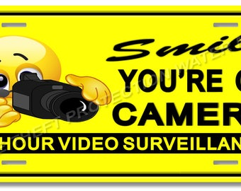 "Smile You're On Camera Video Surveillance Warning Sign 6""x12"" Brand New Yellow"