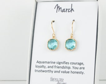 March Birthstone Aquamarine Gold Earrings, Gold Square Earrings, March Birthstone Gold Earrings, March Birthday Gift, Bridesmaid Earrings