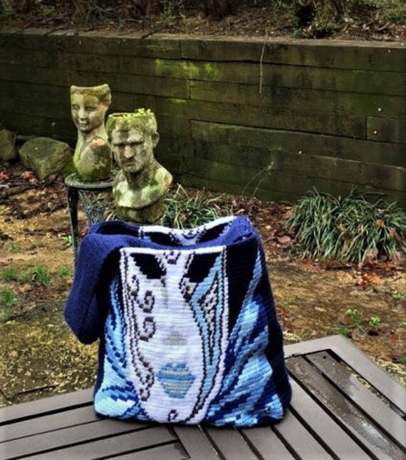 Venetian Mask Large Tapestry Crochet Wayuu Tote Bag