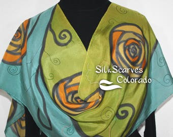 Silk Scarf Sage Green Olive Hand Painted Shawl CHARM ROSES. Large 14x72. Silk Scarves Colorado. Handmade Birthday Gift. Christmas Gift.