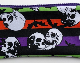 Skulls and Bats Zipper Pouch: Halloween, Stripes.