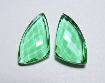 2 Pcs Very Attractive Apple Green Quartz Faceted Fancy Shape Loose Gemstone Beads Size 25X15 MM