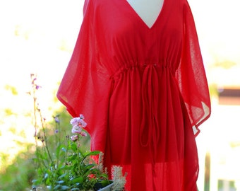 Caftan Maxi Dress - Kaftan Beach Cover Up - Red Cotton Gauze - 20 Colors