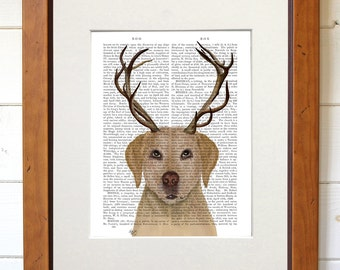 Yellow Lab and Antlers 2 - Yellow Labrador gift funny dog print cabin decor yellow labrador wall art labrador poster